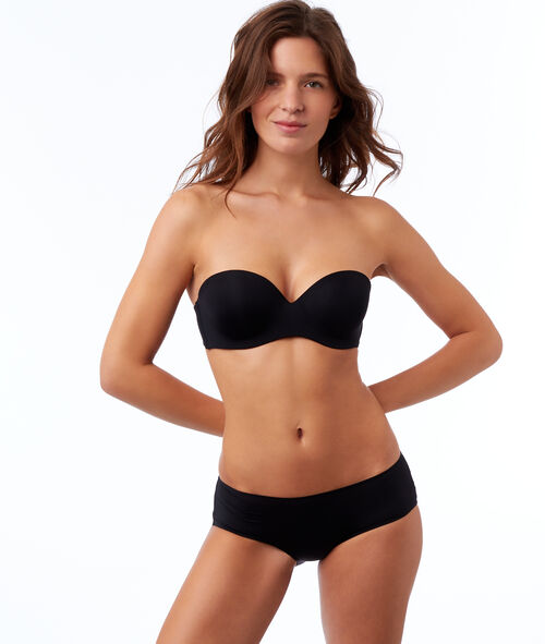 Microfibre cup strapless bra, removable straps