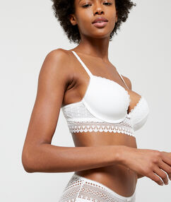 Light padded lace bra off-white.
