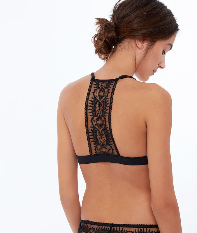 Lace and mesh triangle bra black.