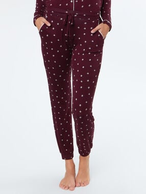 Printed trousers burgundy.