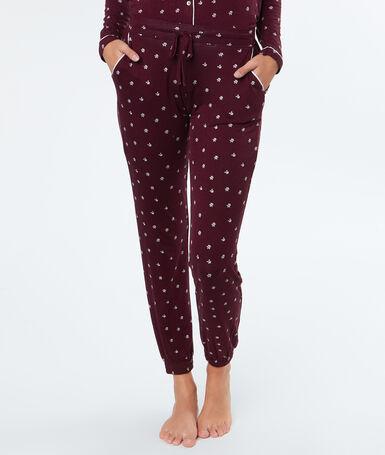 Printed trousers burgundy.