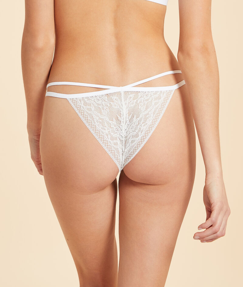 Lace tanga with strap details;${refinementColor}