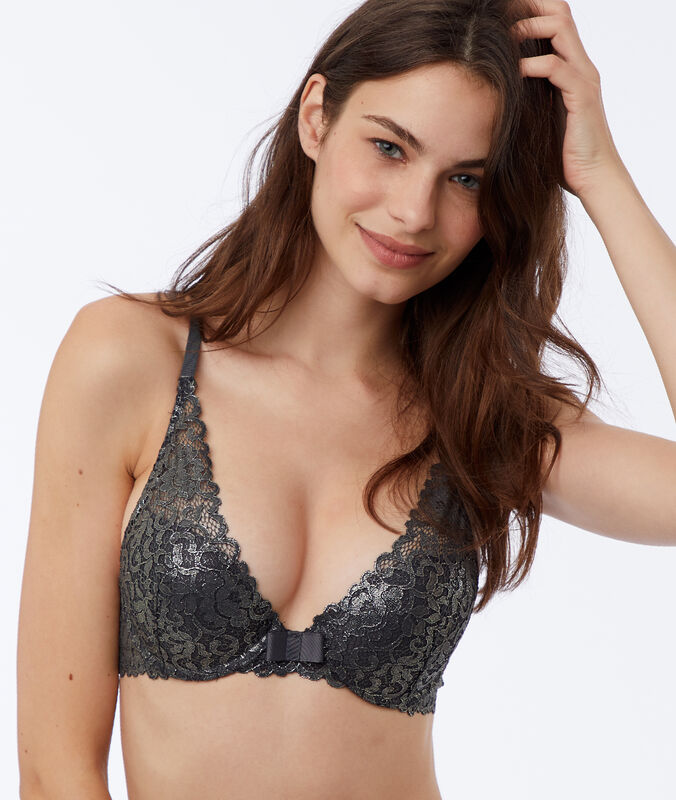 Bra no. 3 - triangle push-up bra with metallic lace silver.