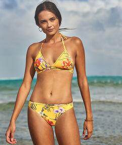 Printed bikini bottom yellow.