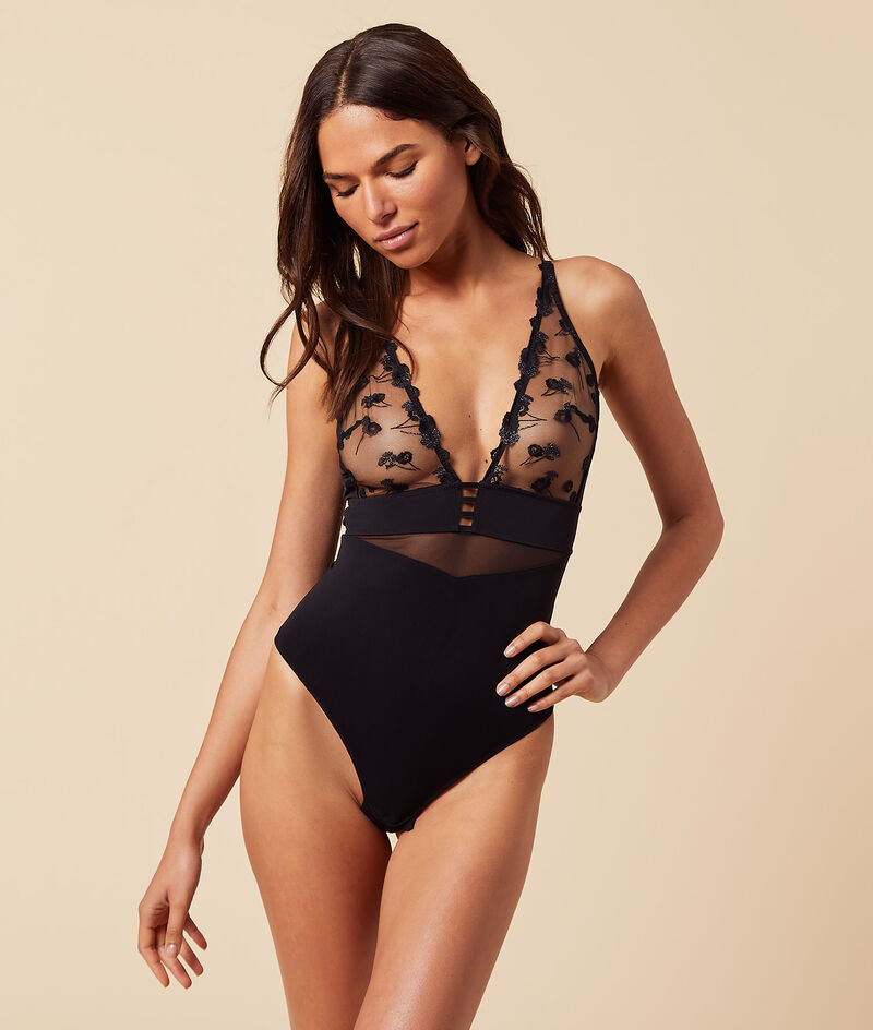 Tulle and embroidered plunging neckline bodysuit;${refinementColor}