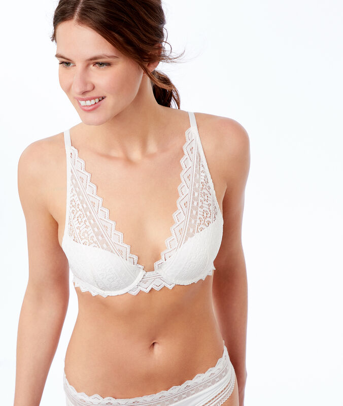 Bra no. 3 - lace triangle push-up bra pearl.