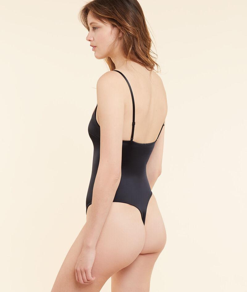 Thin straps satin bodysuit;${refinementColor}