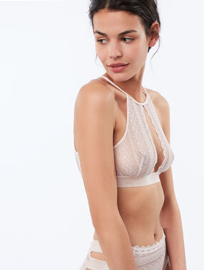 Open-backed lace bra with racer back powder pink.