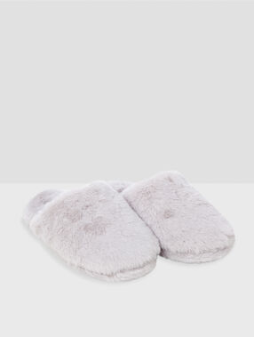 Lined slippers ecru.