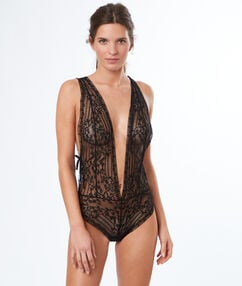 V-back lace bodysuit black.
