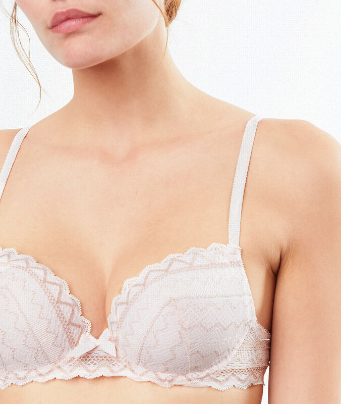 Lace demi-cup padded bra powder pink.