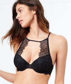 Open lace bralette, structured back black.