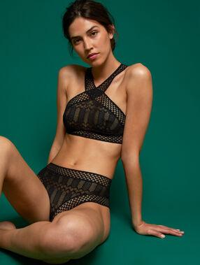 Various lace high-waist briefs black.