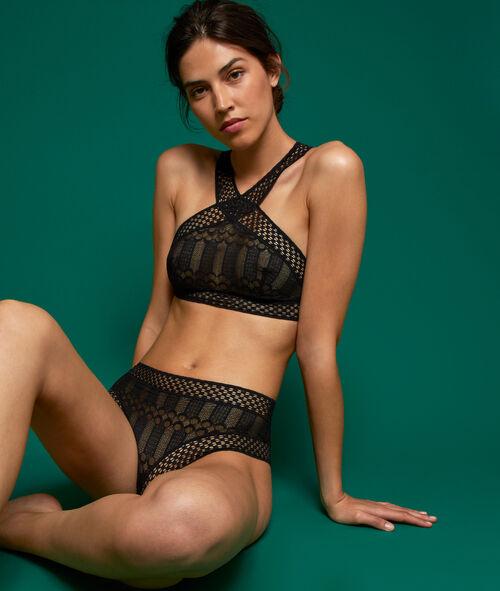 Various lace high-waist briefs