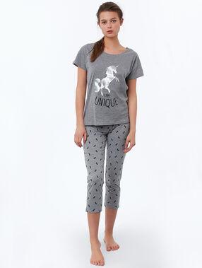 Statement unicorn print t-shirt gray.