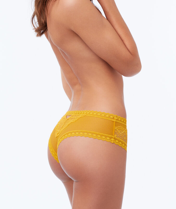 High waist lace hipster ocre.