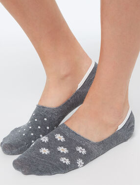 2-pair invisible socks grey.