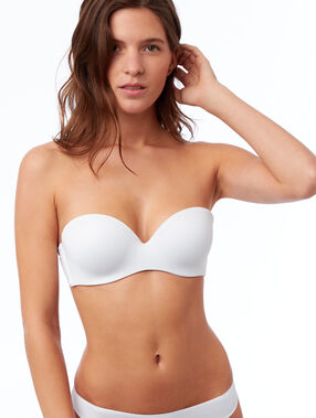 Microfibre cup strapless bra, removable straps white.
