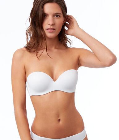 Microfibre cup strapless bra, removable straps white.