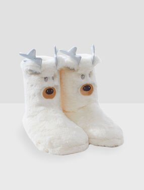 Animal boot slippers ecru.