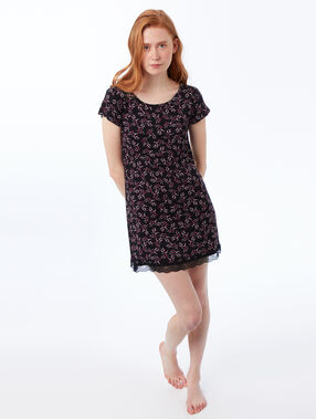 Printed nightdress black.
