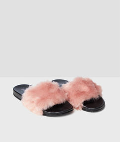 Plush open slippers pink.