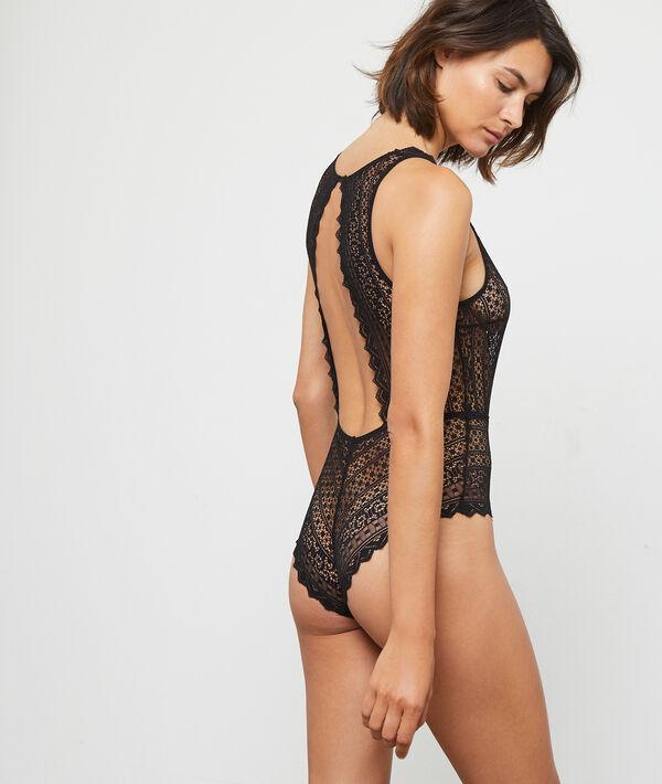 Graphic lace bodysuit, open back