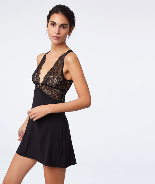 Lace chemise, open back