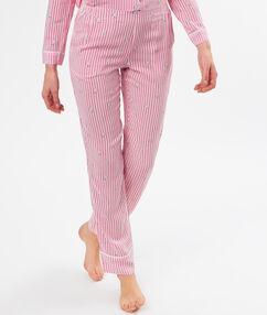 Pantalon rayé imprimé chats rose.