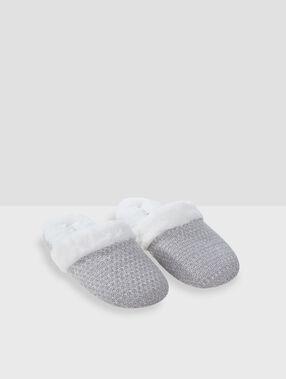 Metallic thread mule slippers grey.