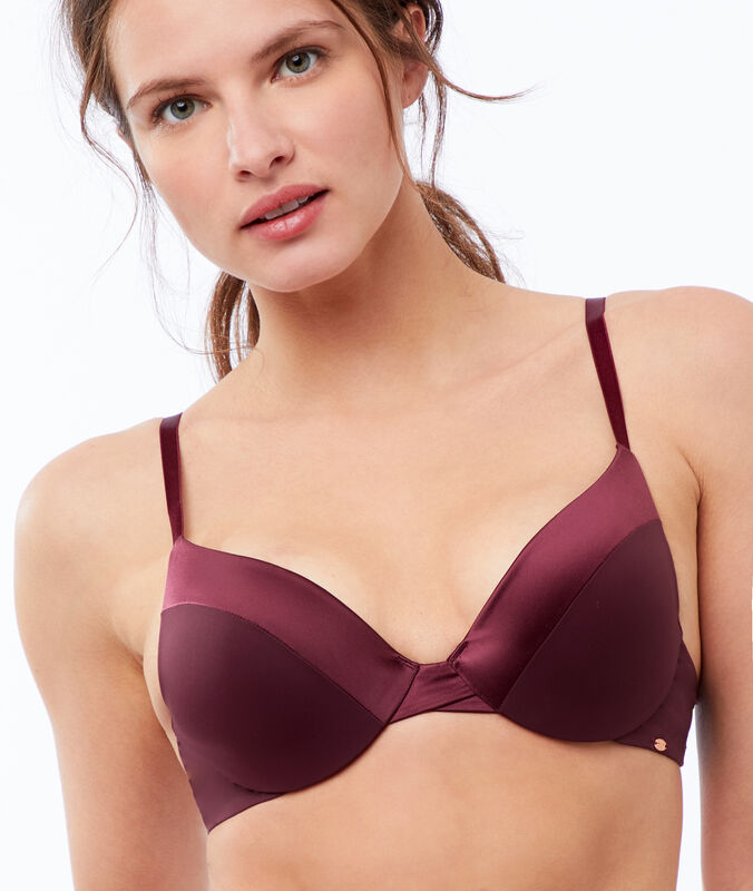 Bra no. 2 - microfiber plunging push-up bra plum.