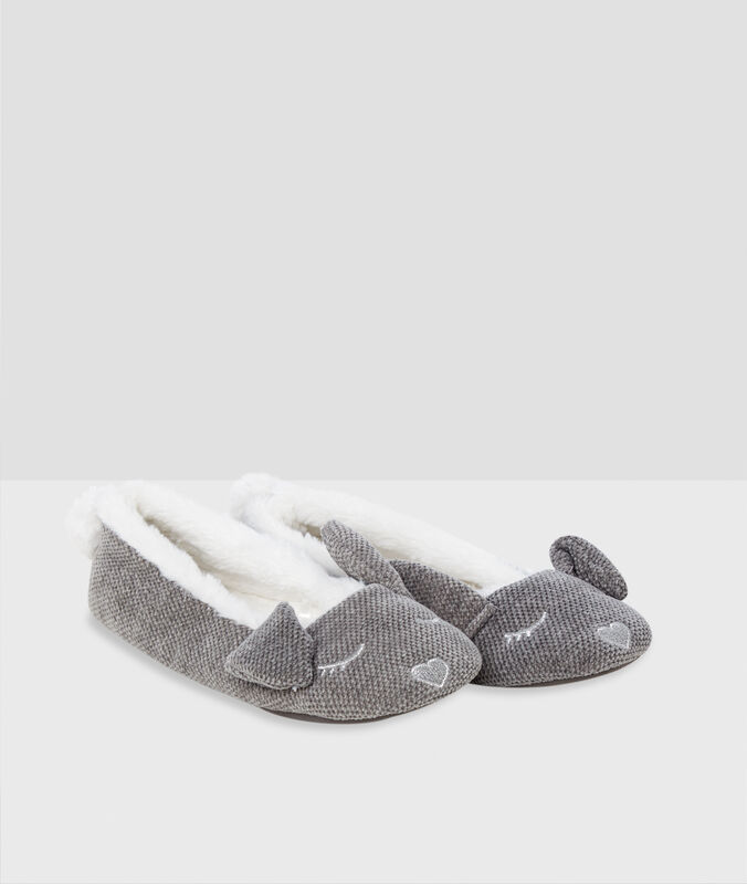 Bunny ears ballerina slippers gray.