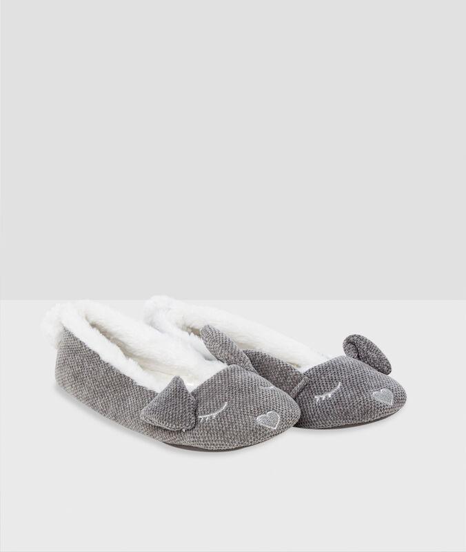 Pantofole ballerine con orecchie di coniglio grigio.