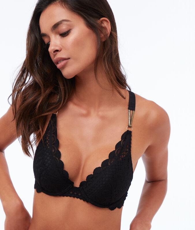 Bra n°2 - push-up bra with crossed back black.