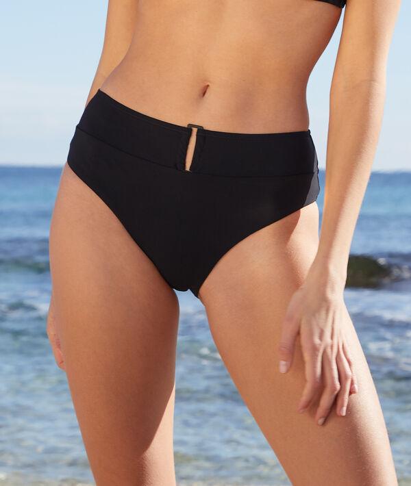 High-waisted buckle bikini bottoms;${refinementColor}