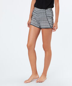Printed pyjama shorts black.