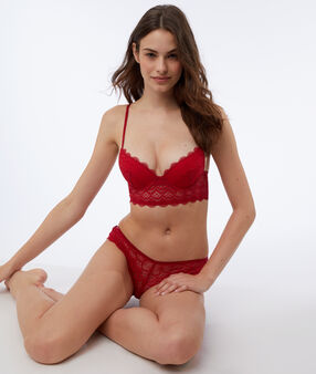Bra n°2 - push up bra with lace basque red.
