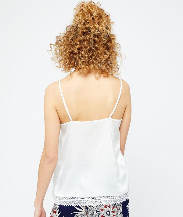 Lace neck satin top;${refinementColor}