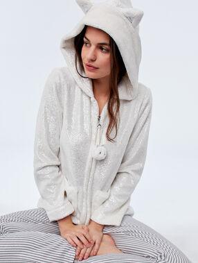 Faux fur hooded jacket ecru.