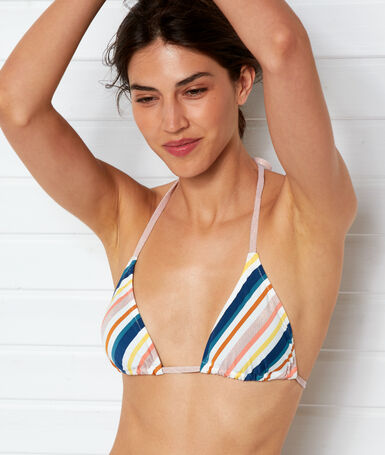 Triangle bikini top print on off-white background.