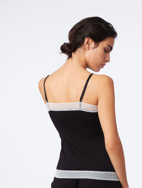 Lace-edged top black.