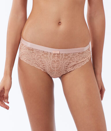 Lace microshorts, elasticated bands powder pink.