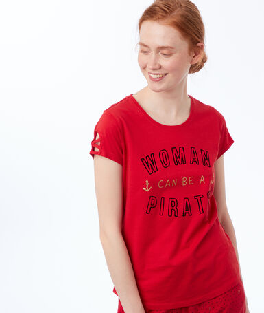 Message print t-shirt red.