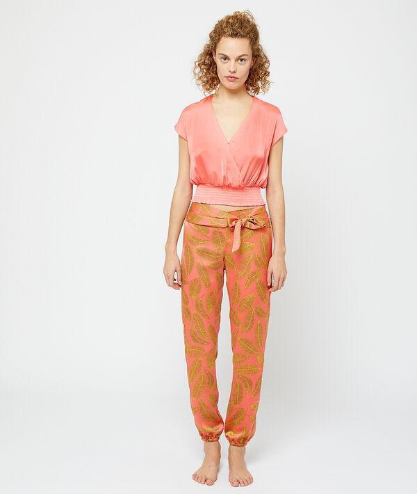Satiny crop top with smocked waist;${refinementColor}
