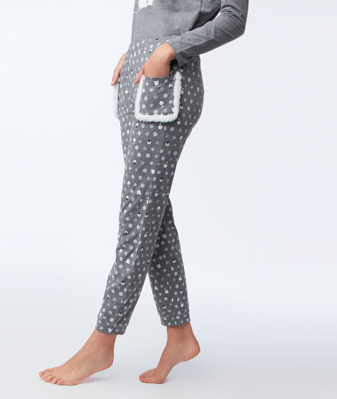 Printed pants with faux fur pockets anthracite.