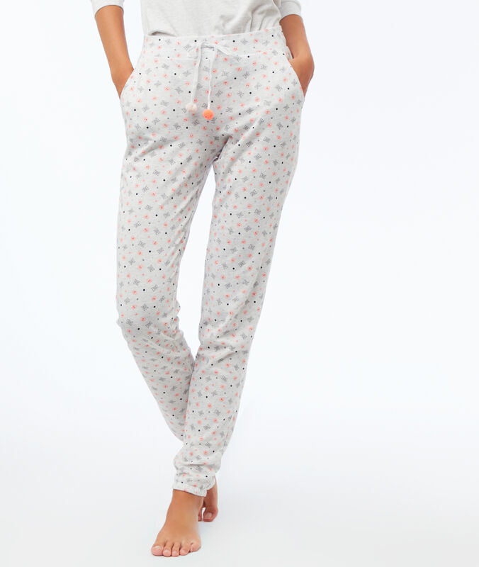 Printed trousers light gray.