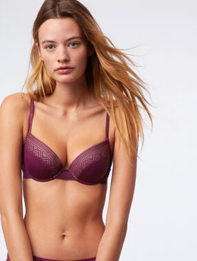 Soutien-gorge n°5 - ampliforme naturel en dentelle et microfibre prune.