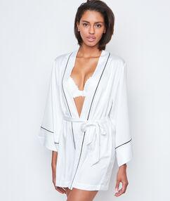Contrast detail satin kimono negligée white.