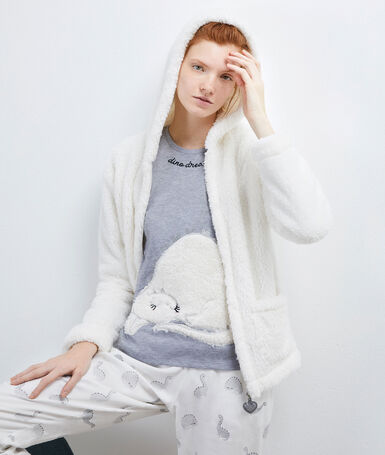 3 piece pyjama plush jacket white.