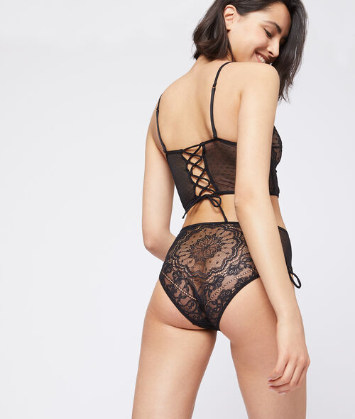 Lace high waisted briefs, lace-up detailing